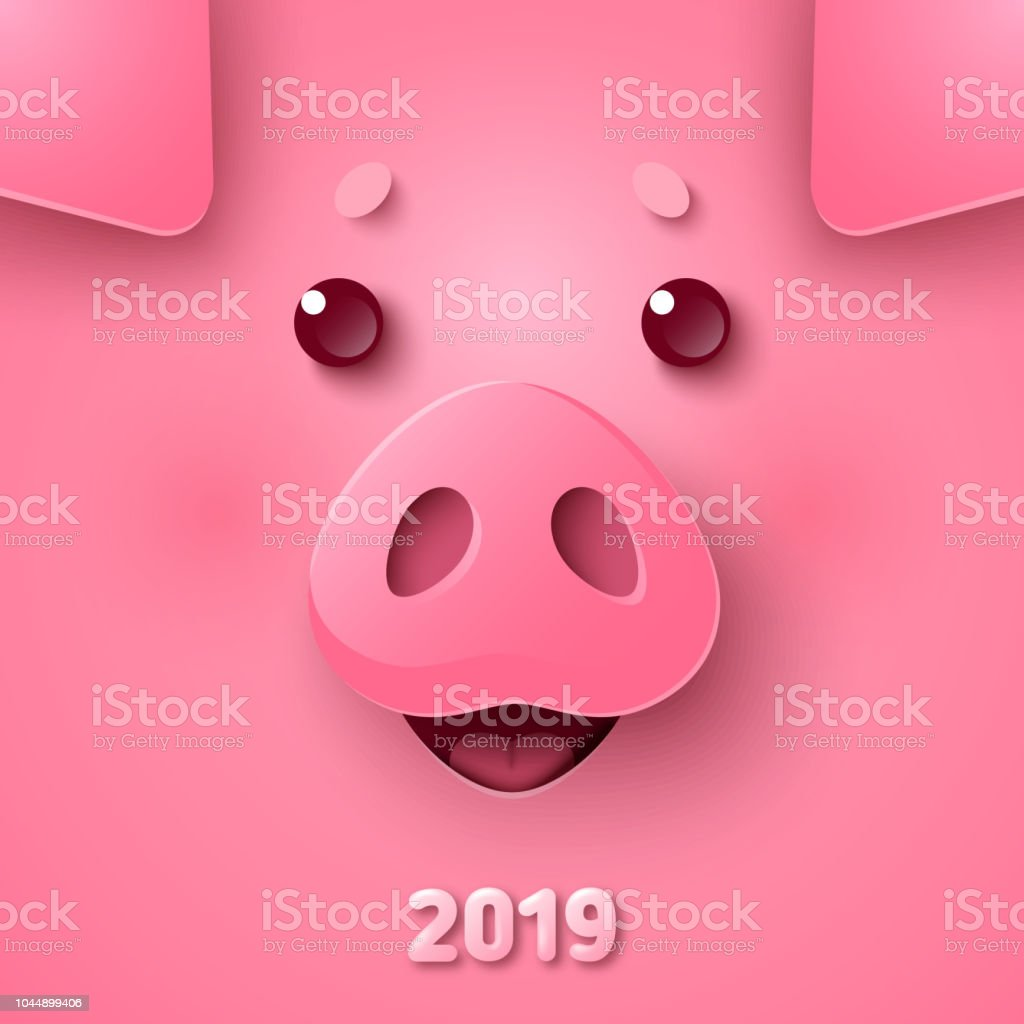 Pig face for Chinese New Year vector art illustration