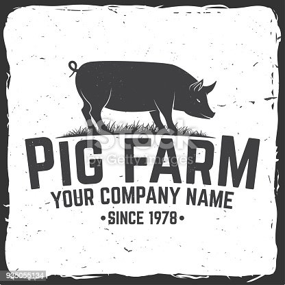 Pig Farm Badge or Label. Vector illustration