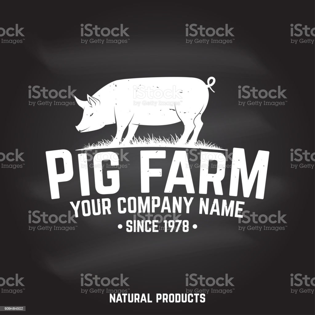 Pig Farm Badge or Label. Vector illustration vector art illustration