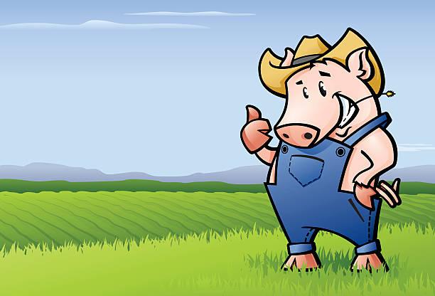 Pig Farmer vector art illustration
