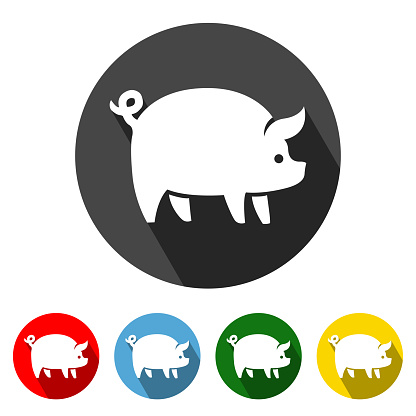 Pig Flat Icon Long Shadow
