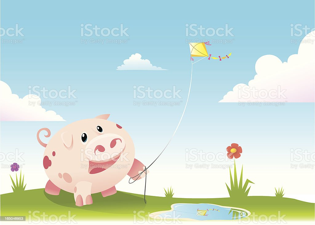 pig flying kite royalty-free pig flying kite stock vector art & more images of cheerful