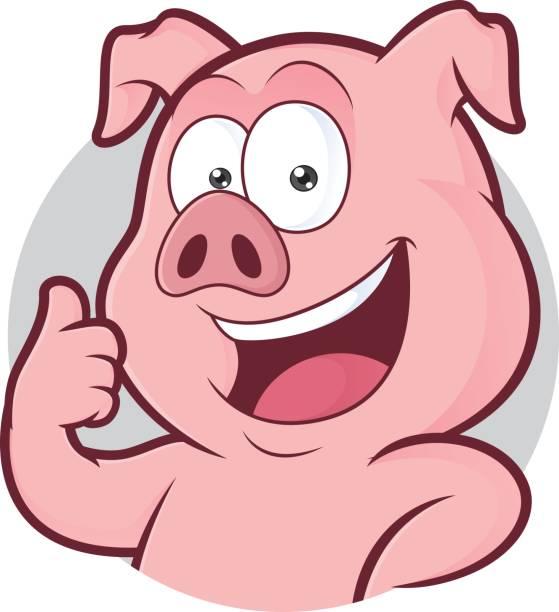 Schwein, Daumen im runden Rahmen aufgeben – Vektorgrafik