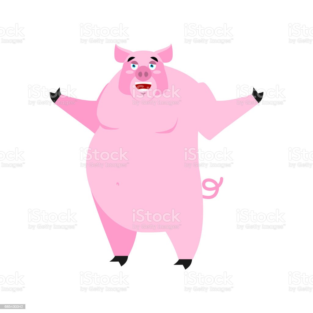 Pig happy Emoji. piggy merry emotion on white background. Farm animal pig happy emoji piggy merry emotion on white background farm animal - arte vetorial de stock e mais imagens de agricultura royalty-free