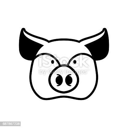 Pig Head Sign Piggy Snout Symbol Farm Animal Stock Vector Art More