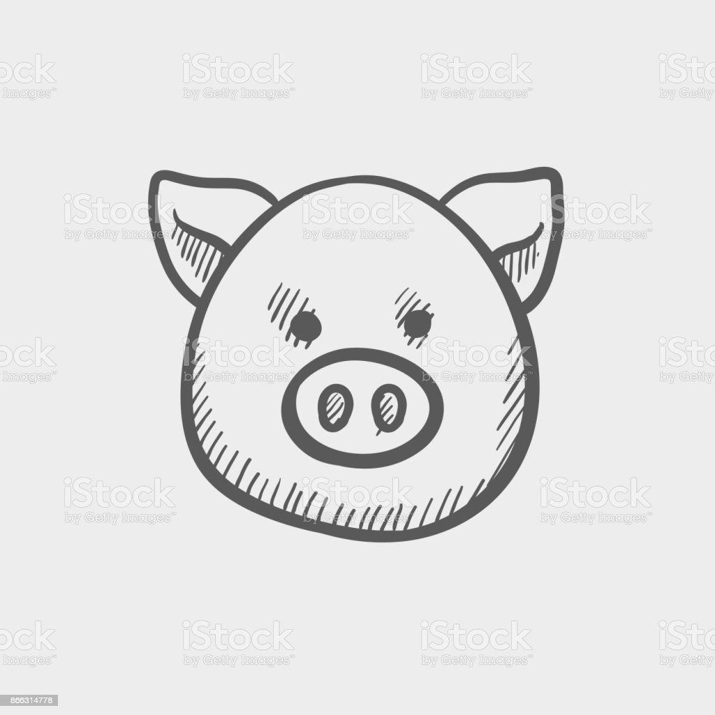 Schweinekopf Skizze Gezeichnet Doodle Handsymbol Stock Vektor Art ...