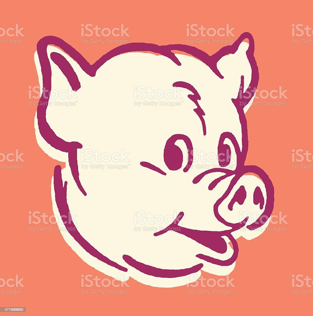 Pig Head vector art illustration