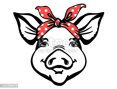 istock Pig head with red bandana. Farm animal. Vector graphic printable illustration isolated on white. 1227594678