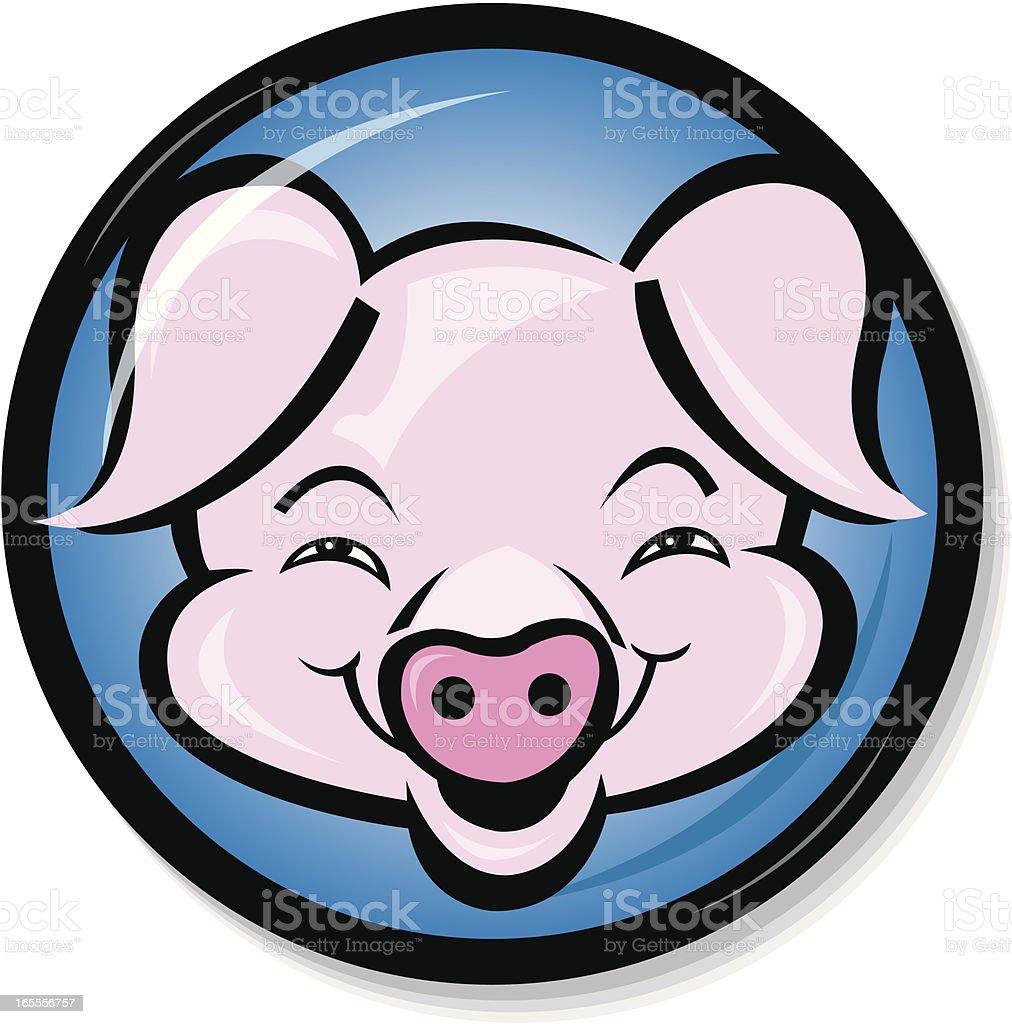Pig, Hog, Swine Face - Animal Button Cartoon royalty-free stock vector art