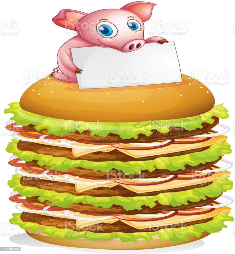 Pig holding an empty signage at the top of hamburger royalty-free stock vector art