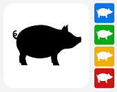 Pig Icon. This 100% royalty free vector illustration features the main icon pictured in black inside a white square. The alternative color options in blue, green, yellow and red are on the right of the icon and are arranged in a vertical column.