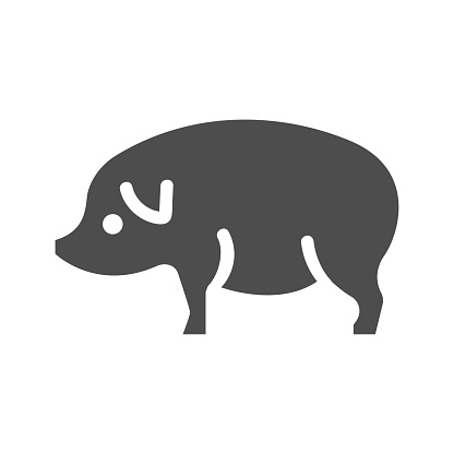 pig icon on a white background, vector illustration