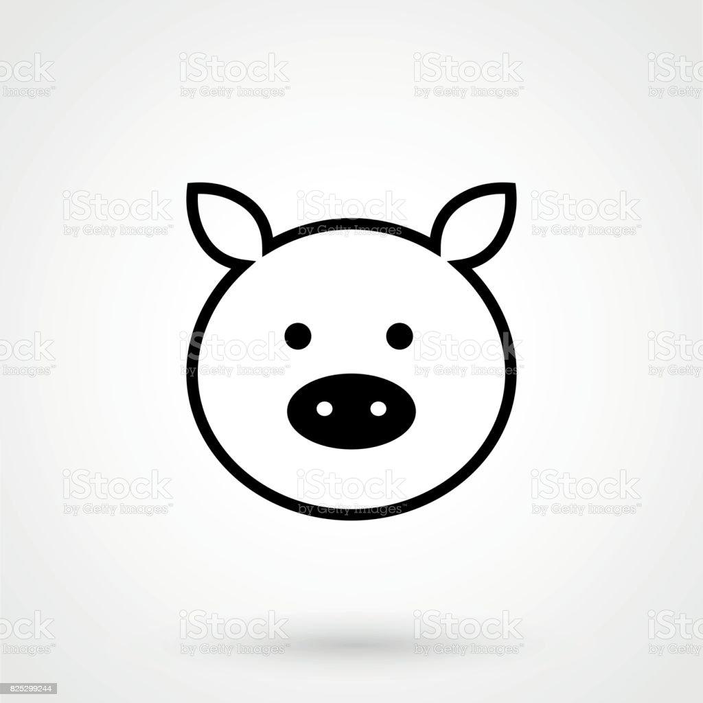 Schweinsymbol Schlichtes Design Auf Einem Weißen Hintergrund ...