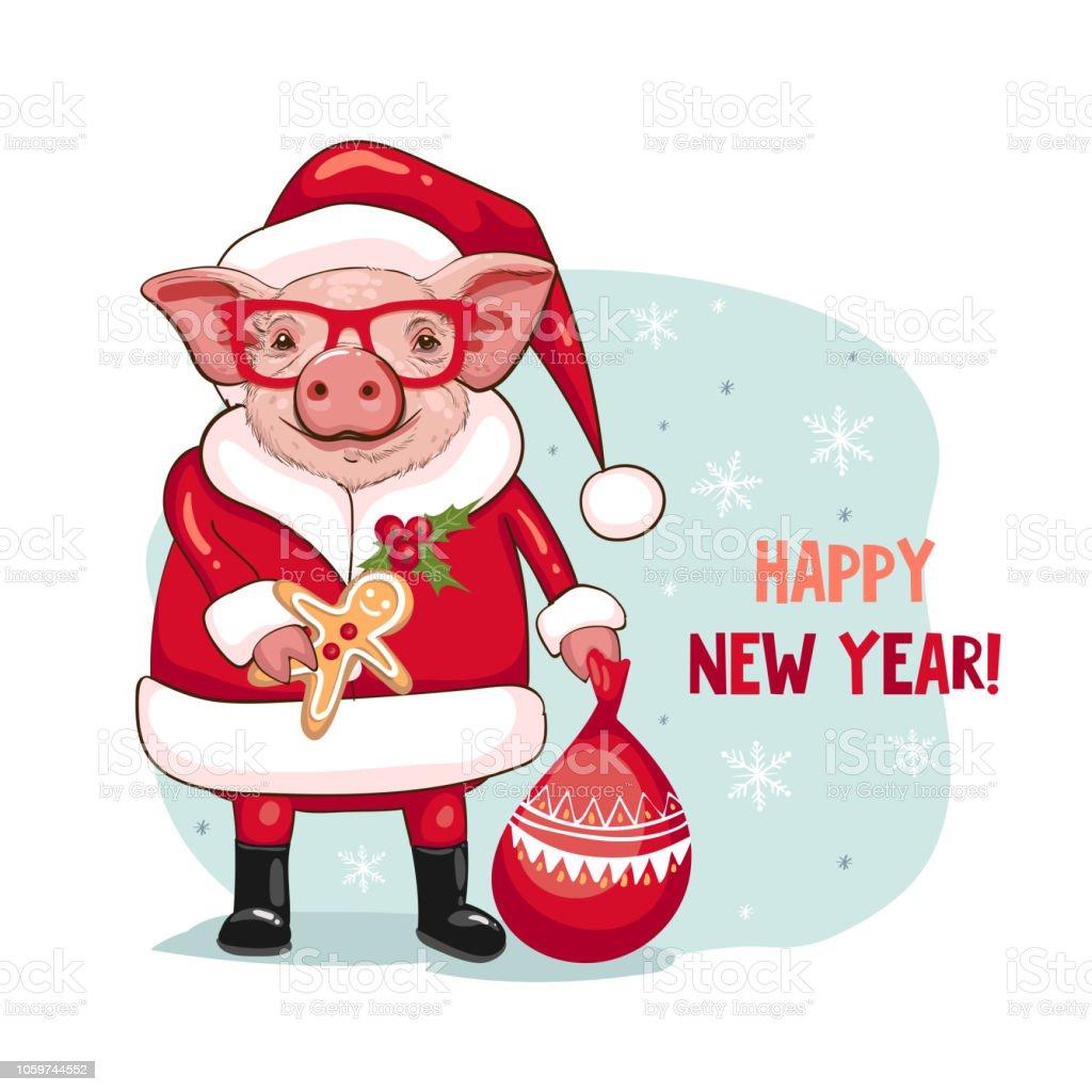 Schwein In Ein Weihnachtsmann Kostüm Mit Einer Brille Frohes Neues ...