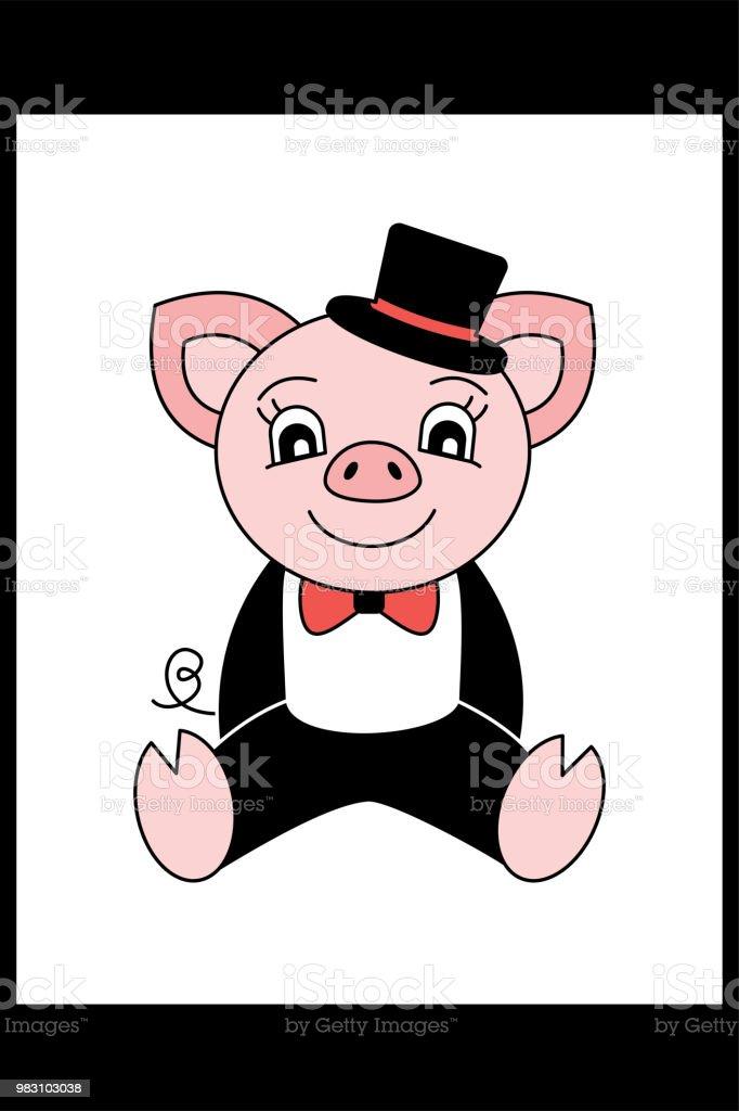 Schwein In Anzug Und Hut Cartoonschweinchen Chinesisches Horoskop ...