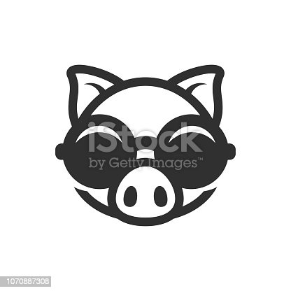 Pig in round sunglasses icon. Piggy logo