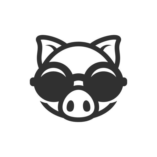 schwein in runde sonnenbrille symbol. piggy-logo - markenbrillen stock-grafiken, -clipart, -cartoons und -symbole