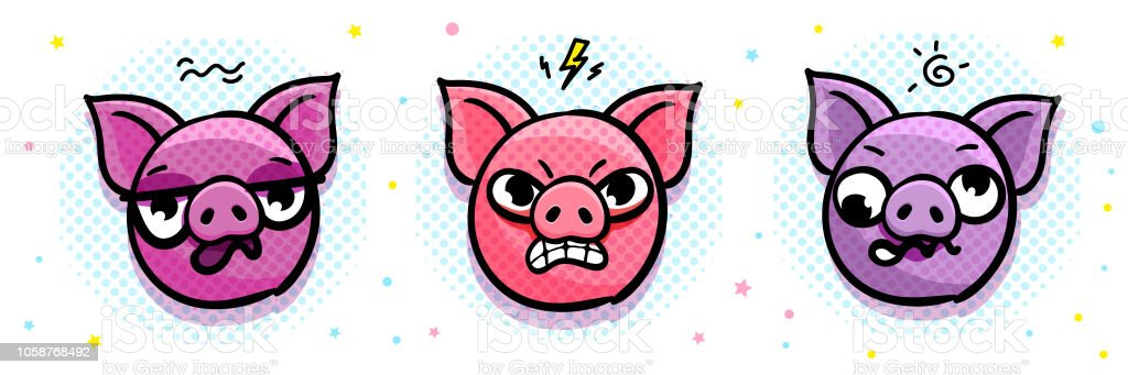Pig is a symbol of 2019 new year. Head of the Emoji Pig in pop art style. vector art illustration