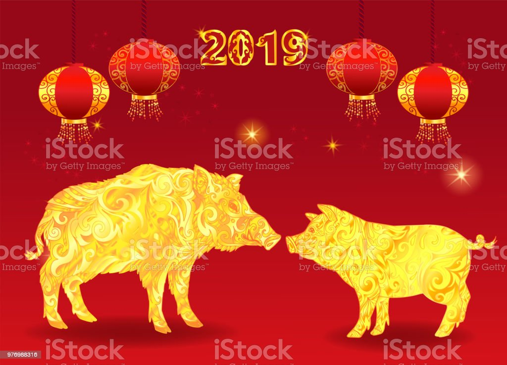 pig is a symbol of the 2019 chinese new year red background with yellow golden
