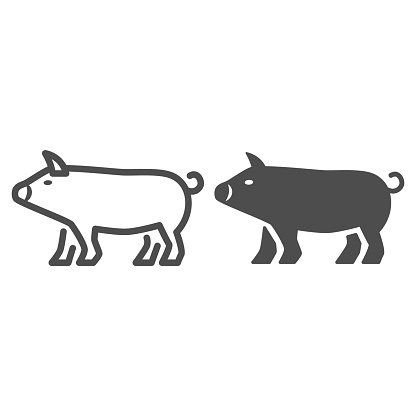 Pig line and solid icon, Farm animals concept, pork sign on white background, Pig silhouette icon in outline style for mobile concept and web design. Vector graphics.