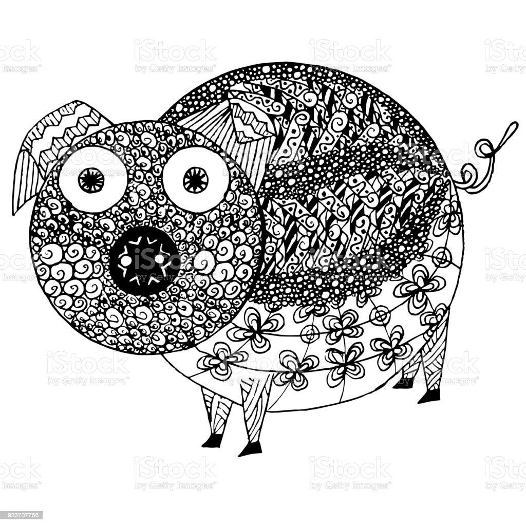 Monochrome Skizze Schwein Färbung Seite Antistress Lager ...