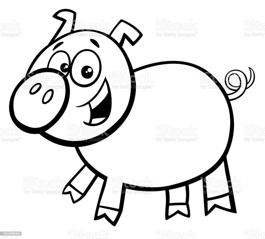 Schwein Oder Spanferkel Cartoon Charakter Farbbuch Stock Vektor Art ...