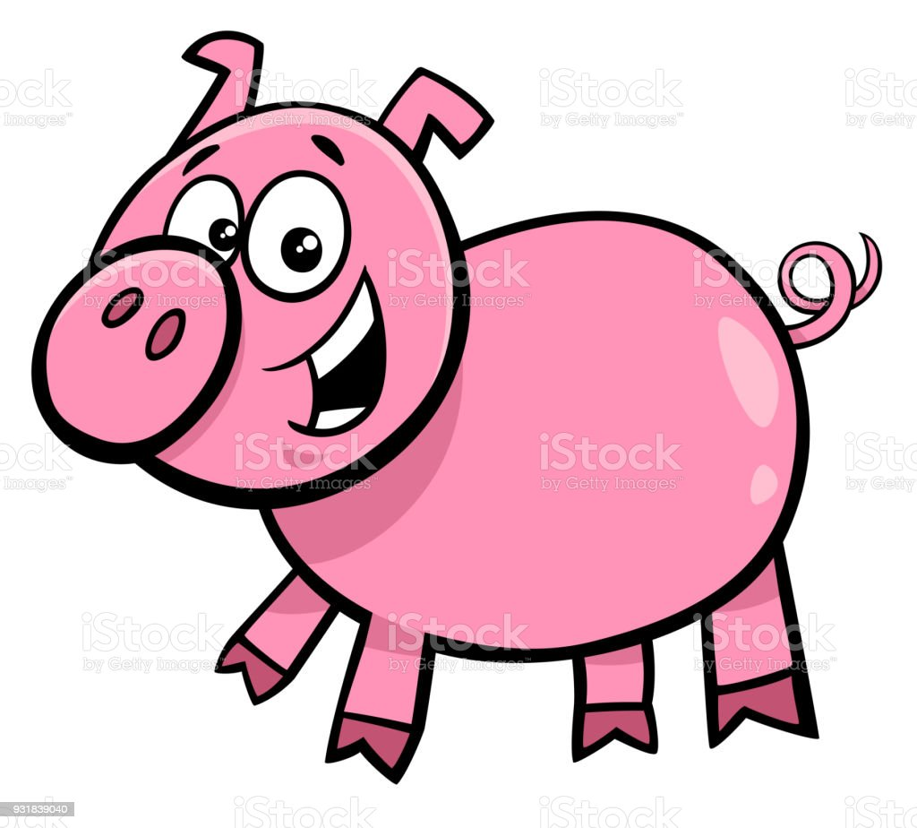 Schwein Oder Spanferkel Charakter Cartoon Illustration Stock Vektor ...