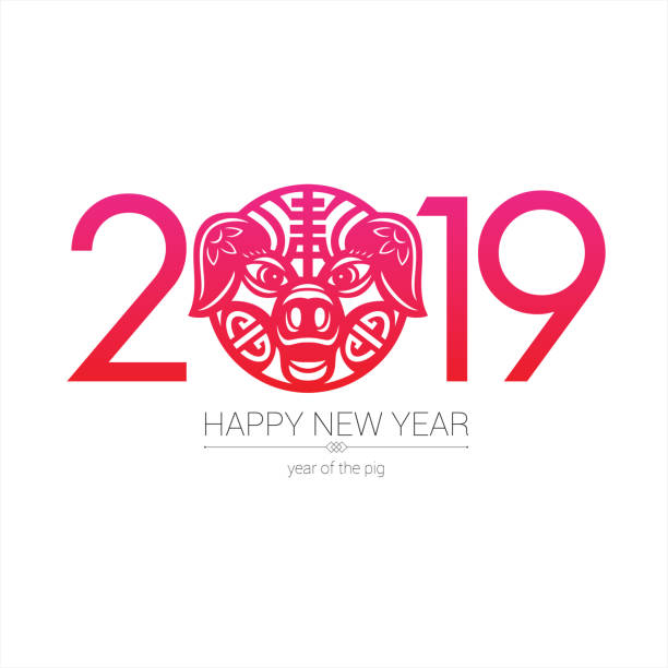 pig paper-cut 2019 - year of the pig stock illustrations, clip art, cartoons, & icons