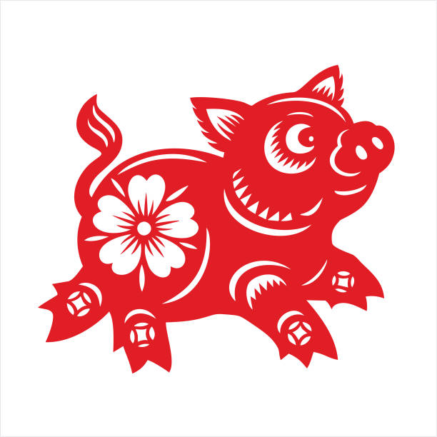 pig paper-cut - year of the pig stock illustrations, clip art, cartoons, & icons