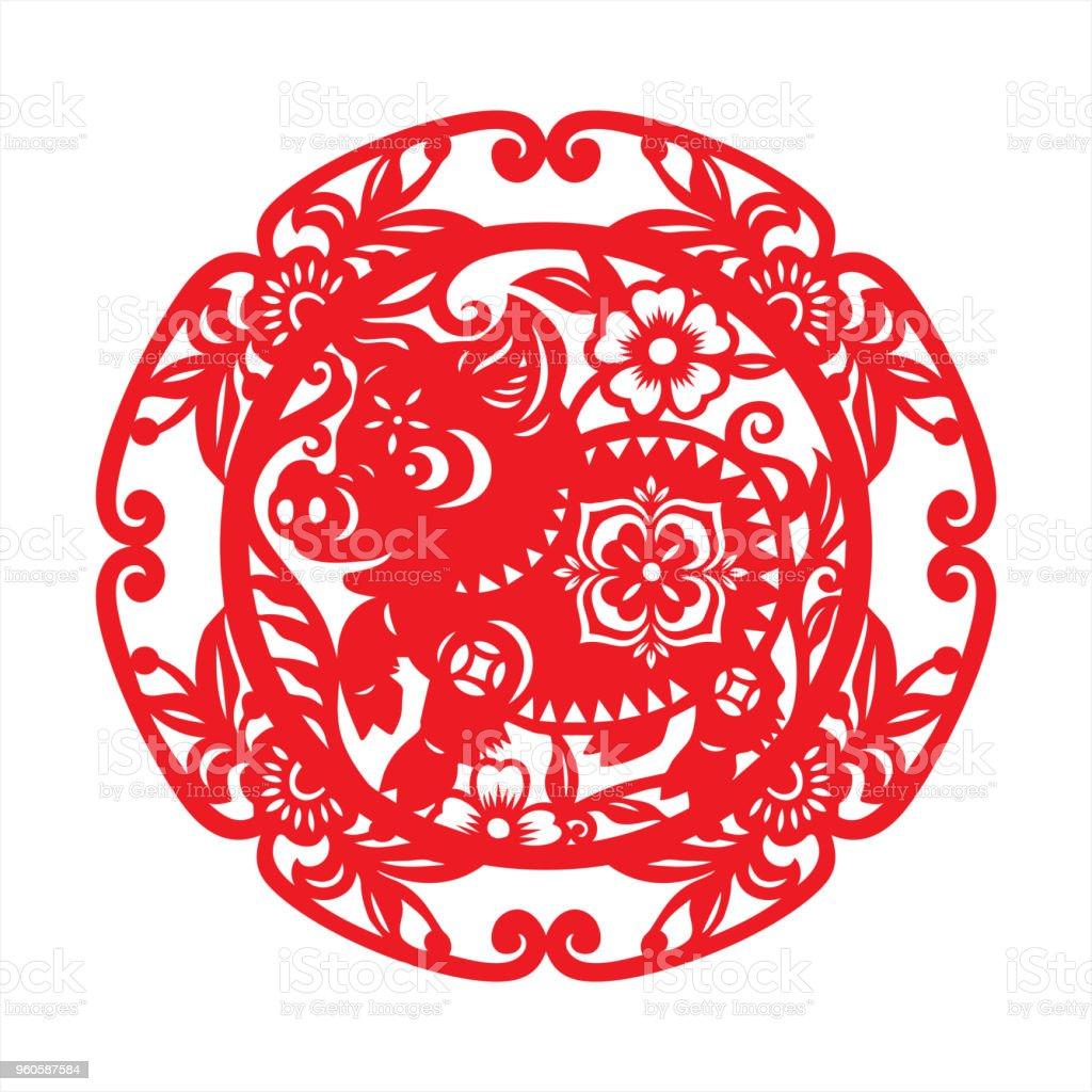 Pig paper-cut vector art illustration