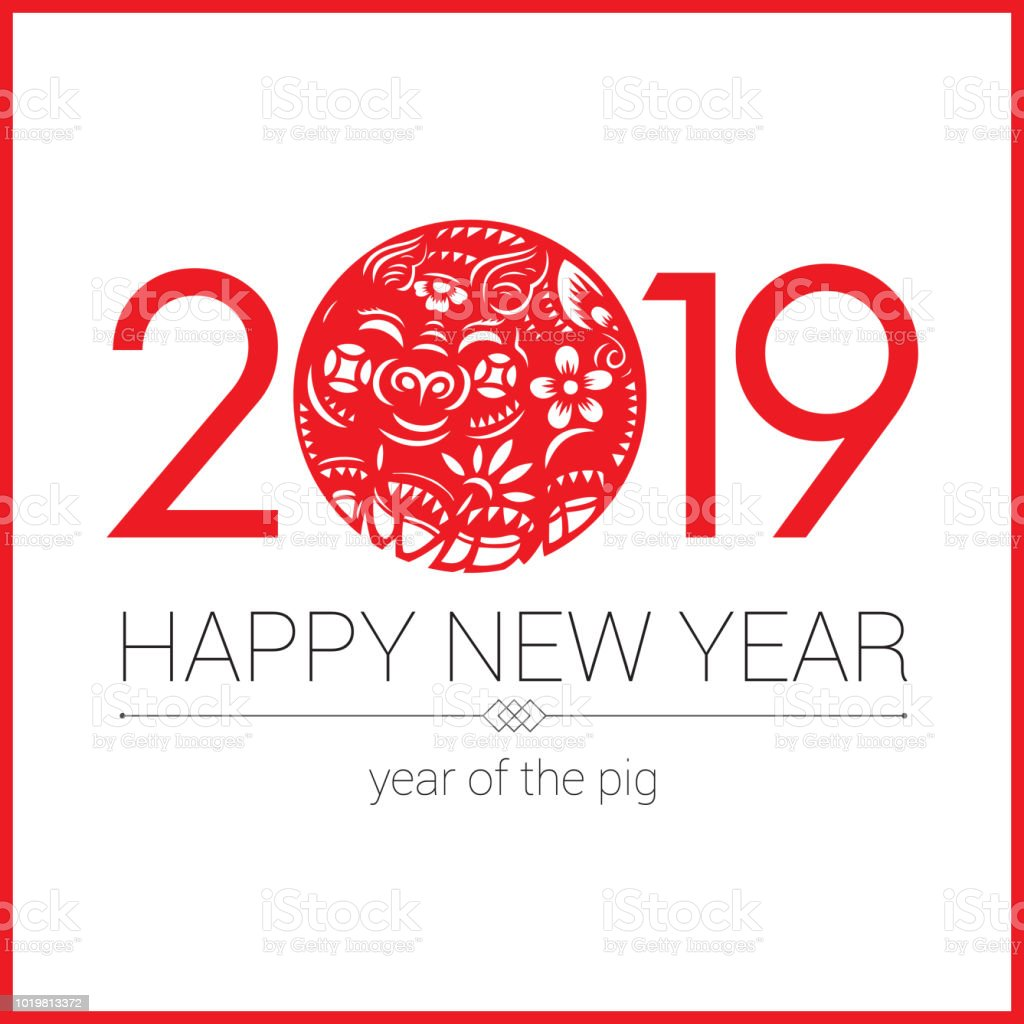 Pig paper-cut, Year of the Pig, 2019, Chinese New Year, Lunar New Year vector art illustration
