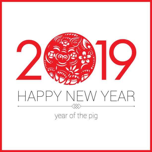 pig paper-cut, year of the pig, 2019, chinese new year, lunar new year - year of the pig stock illustrations, clip art, cartoons, & icons