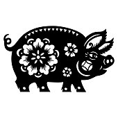 Pig Papercut, pig paper-cut, Year of the pig, 2019, happy new year, lunar new year, chinese new year, pig zodiac, chinese zodiac