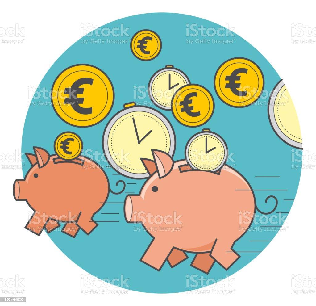 ilustração de porco cofrinho com moedas e tempo vector a ilustração