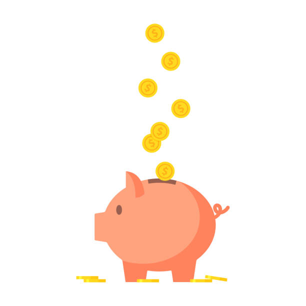 Pig piggy bank with coins vector illustration Pig piggy bank with coins vector illustration in flat style. The concept of saving or save money or open a bank deposit. The idea of an icon of investments in the form of a toy pig piggy bank. safety deposit box stock illustrations