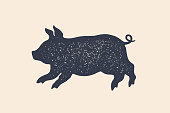 Pig, piggy. Concept design of farm animals - Piggy side view profile. Isolated black silhouette pig or piggy on white background. Vintage retro print, poster, icon. Vector Illustration