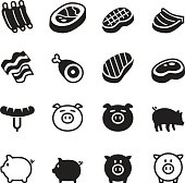 Pig & pork icons set Vector illustration