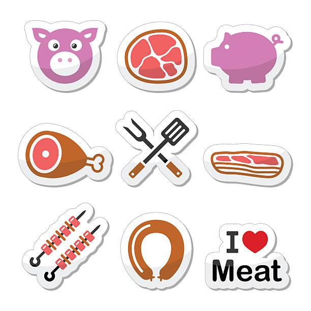 schwein, schwein fleisch-quiche mit schinken, speck und aufkleber symbole-set - schweinebauch stock-grafiken, -clipart, -cartoons und -symbole