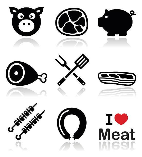 schwein, schwein fleisch-pink mit schinken, speck icons set - schweinebauch stock-grafiken, -clipart, -cartoons und -symbole