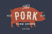 Pig, pork. Vintage label, retro print, poster for Butchery meat shop with text, typography Pork, Meat Shop, Farm Grown, pig silhouette. Label template for meat business, farmer shop. Vector Illustration