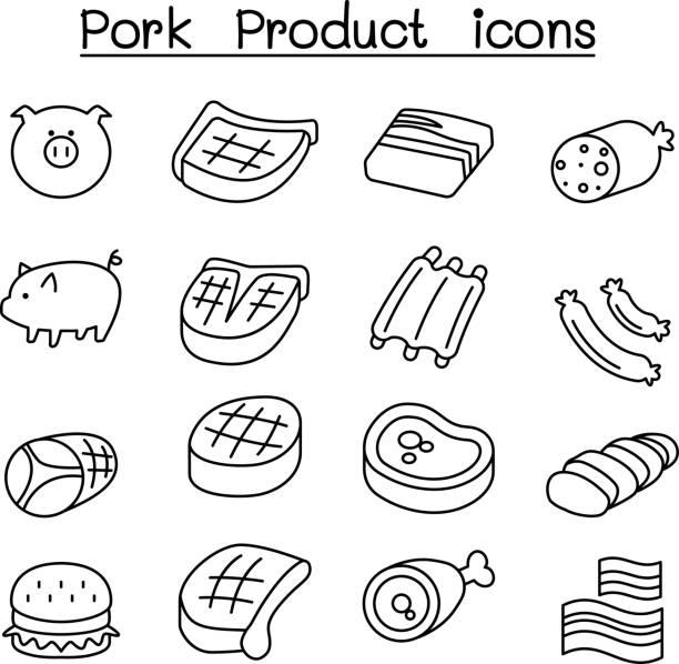 bildbanksillustrationer, clip art samt tecknat material och ikoner med gris & fläsk produkt ikonuppsättning i tunn linjestil - loin