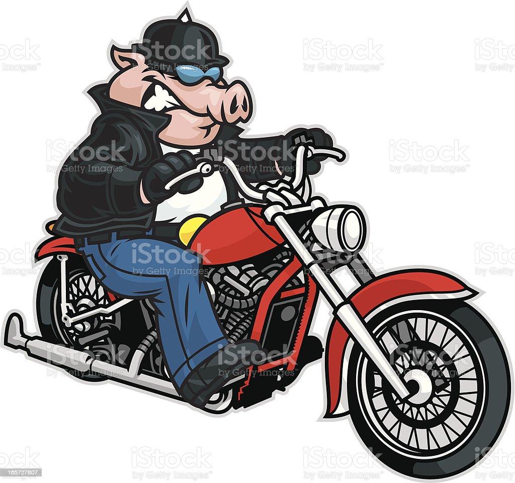Pig riding motorcycle vector art illustration