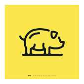 Pig Rounded Line Icon