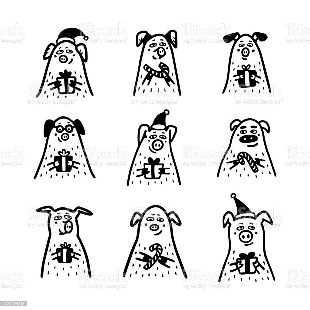 Ilustracion De Juego De Cerdo Cerdo Divertido Con Sombreros De Santa