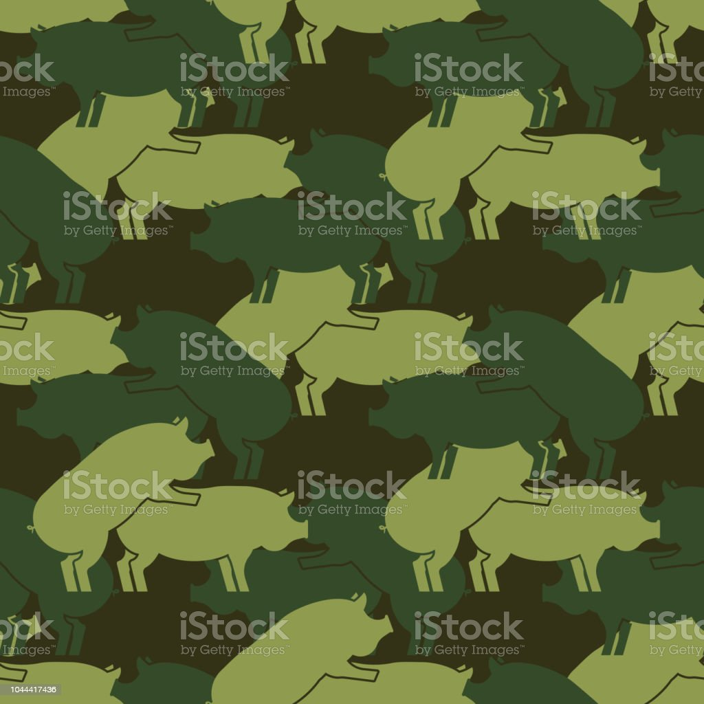 Cochon sexe armée modèle eamless. Expérience militaire Piggy de rapports sexuels. l'ornement de porcs de la soldatesque. Reproduction chez l'Animal de ferme. Texture de guerre Vector - Illustration vectorielle