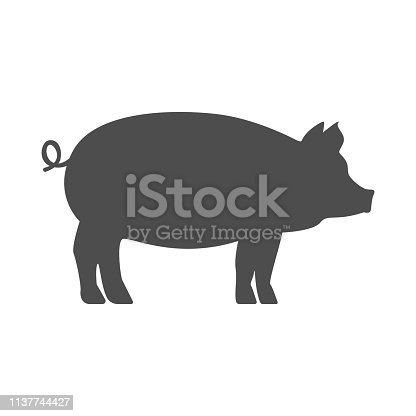 Pig silhouette. Vector.