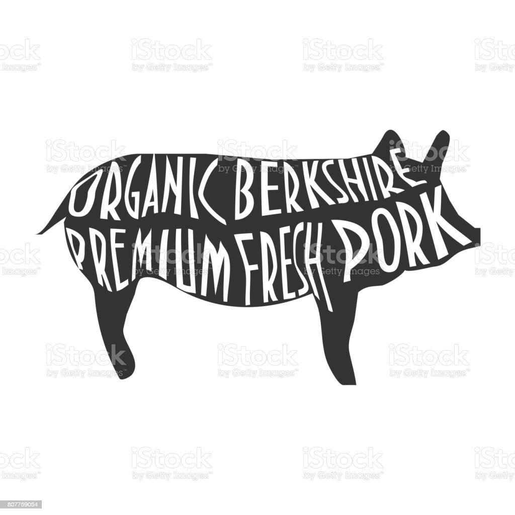 Pig silhouette with text Organic Bershire Premium Fresh Pork. vector art illustration