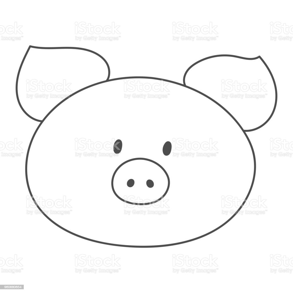 Pig snout silhouette. Piggy face contour. Vector illustration vector art illustration