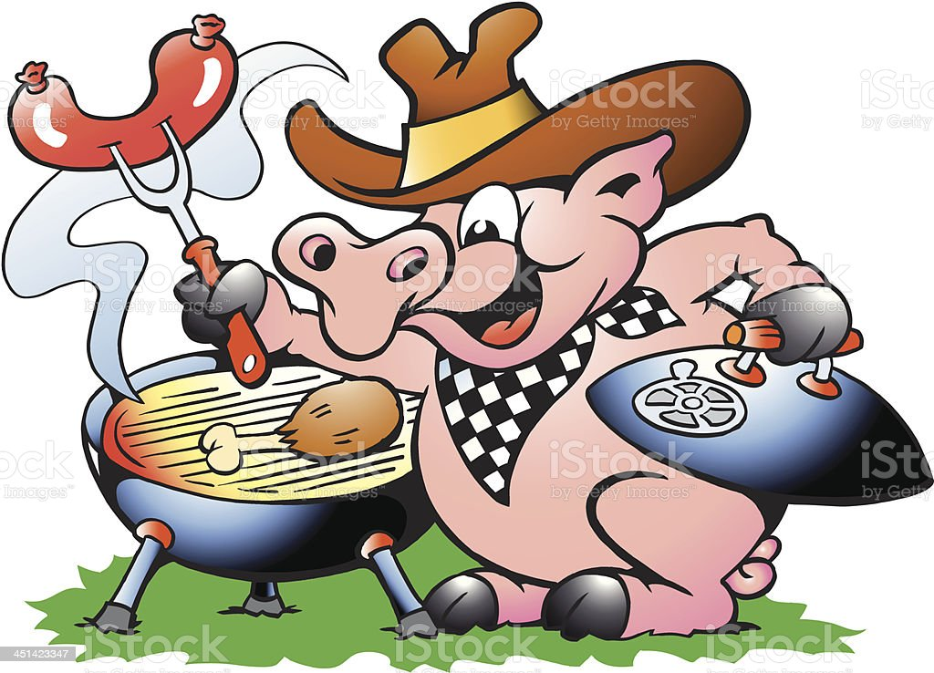 Pig standing and making BBQ royalty-free stock vector art