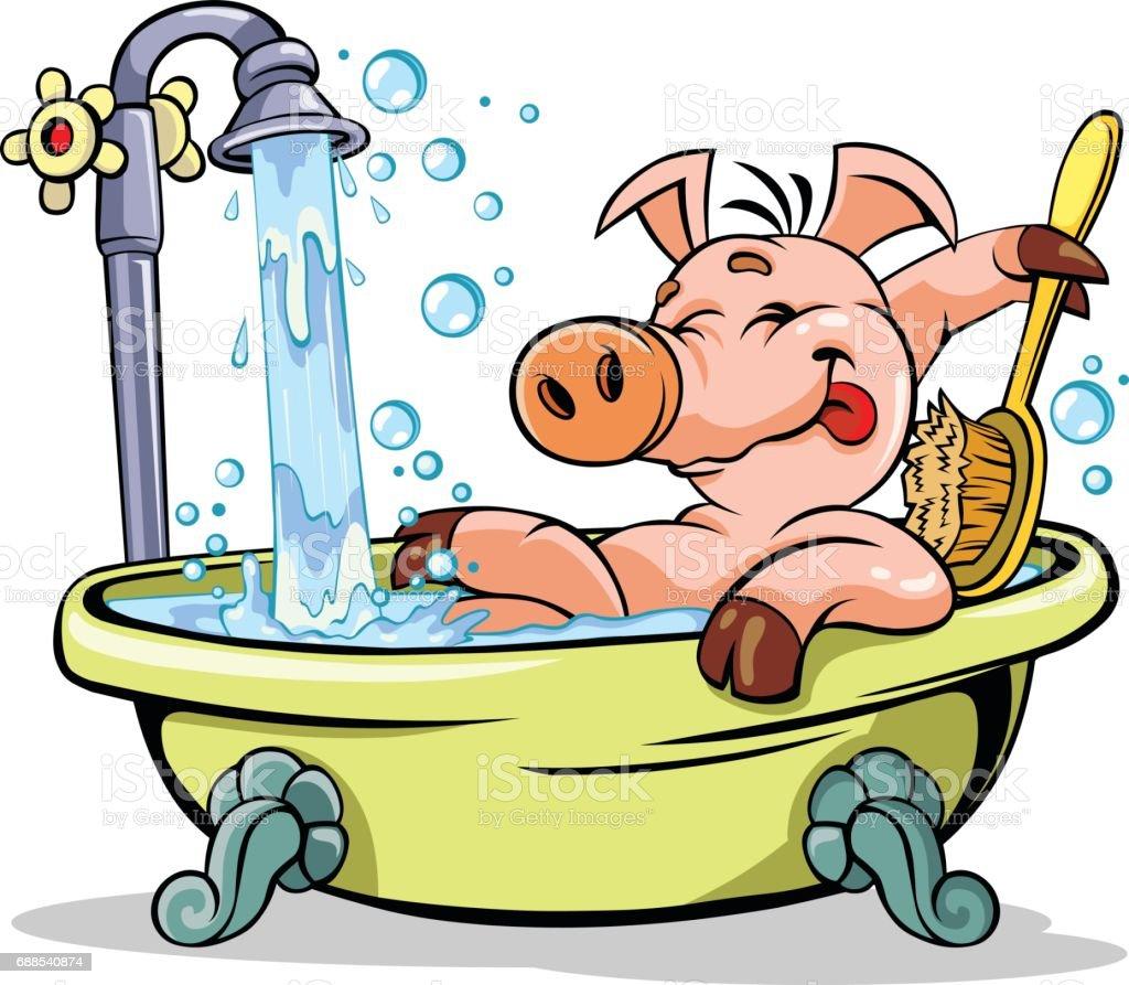 Pig taking a bath. vector art illustration